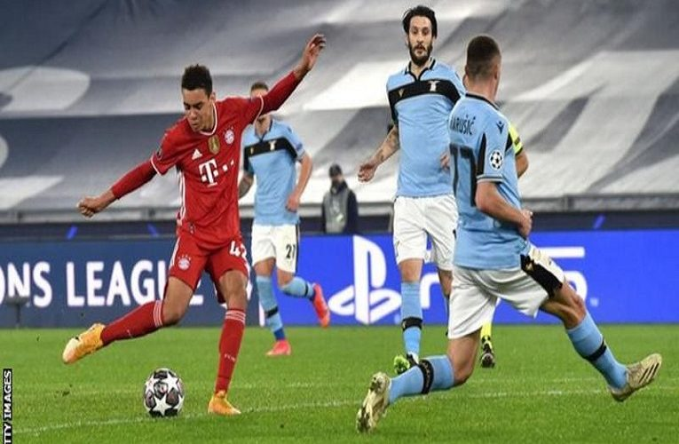 Jamal Musiala became the youngest English scorer in the Champions League as holders Bayern Munich thrashed Lazio in the last-16 first leg in Rome.