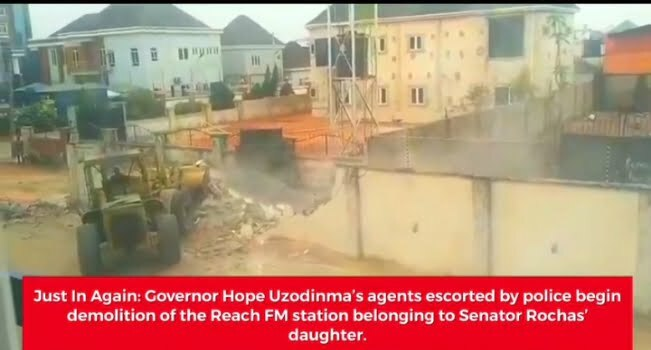 Demolishing Of Okorocha Daughter's Reach FM By Uzodimma's Agents Begins In Imo
