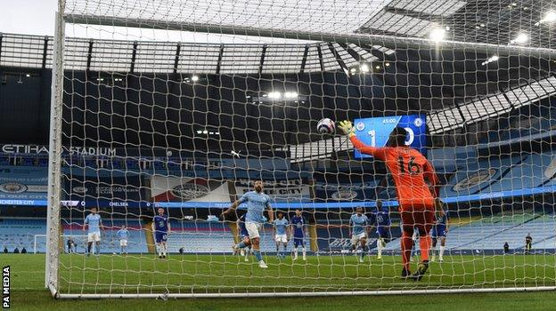 Sergio Aguero made a mess of a Panenka penalty as Chelsea ensured Manchester City must wait a little longer to wrap up the Premier League title