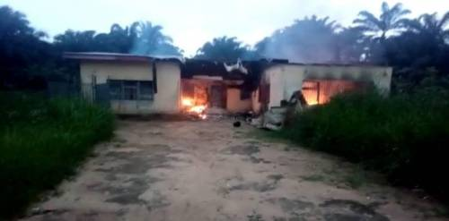 BREAKING: Ballot Boxes, Others Destroyed As Hoodlums Burn Down National Electoral Commission Office In Akwa Ibom